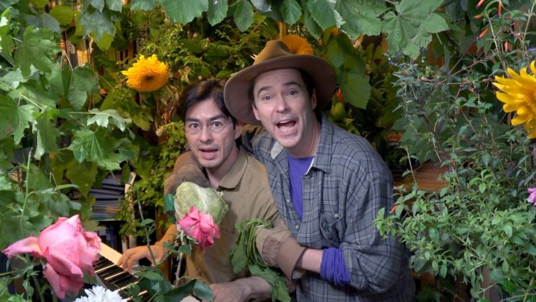 "Thomas Hitoshi Pruiksma and David Mielke in ""Plant a Radish"" from their ""Broadway in the Yurt"" series"